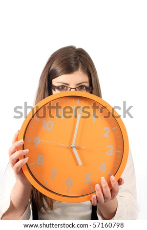 sexy businesswoman with clock, business photo - stock photo
