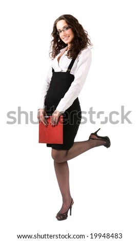Sexy businesswoman with document case. Isolated on white.