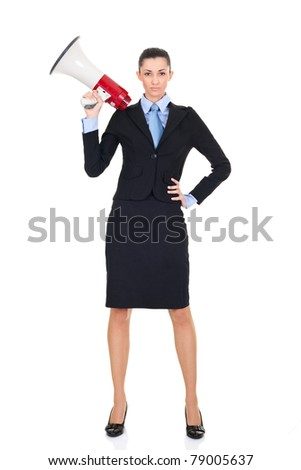 sexy businesswoman with megaphone  posing on white background - stock photo