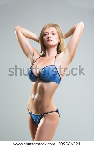 sexy busty model in lingerie  - stock photo