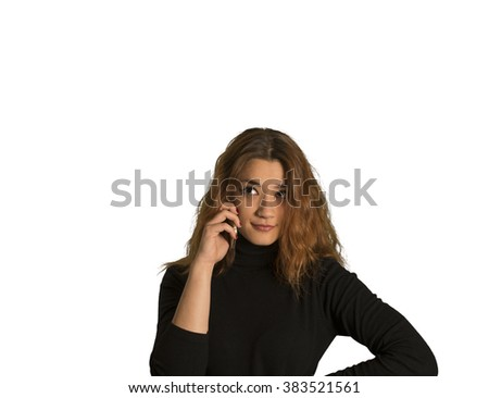 Sexy casual girl with a cell phone isolated