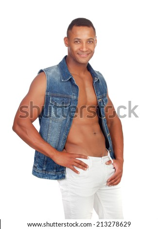 Sexy casual with denim jacket isolated on a white background