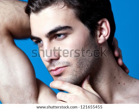 sexy caucasian fit man - stock photo