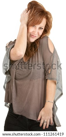 Sexy Caucasian with red hair over white background - stock photo
