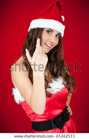 sexy Christmas woman inviting you to join the party - stock photo