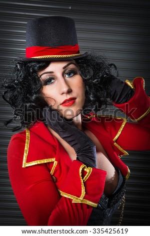 sexy circus ringmaster woman - stock photo