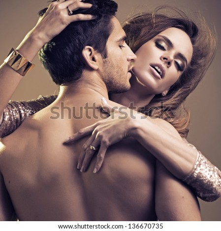 Sexy couple in intimacy relations - stock photo