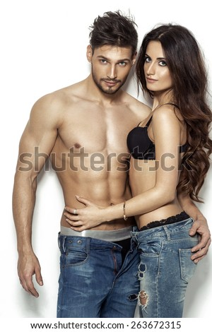 Sexy couple in underwear - stock photo