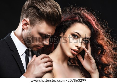 sexy couple, lovers people, elegance pretty, classic - stock photo