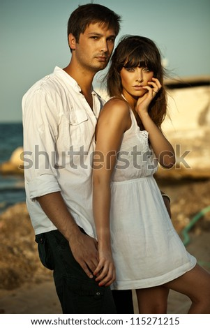 Sexy couple on vacation - stock photo