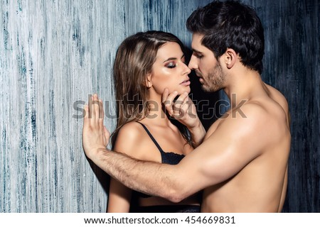 Sexy couple play in love games. BDSM. - stock photo