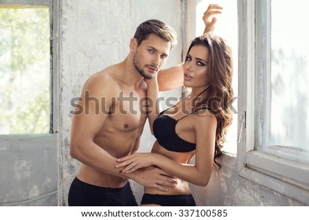 Sexy couple touching each other  - stock photo