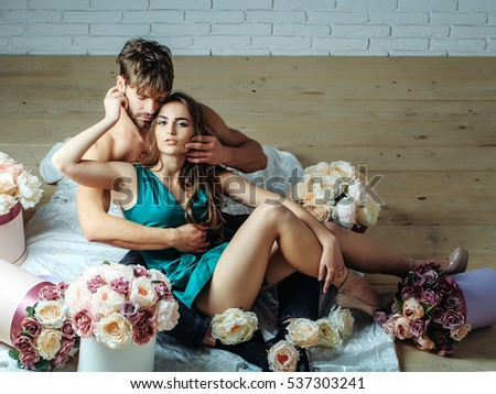 sexy couple young beautiful cute lovers stock photo (royalty free