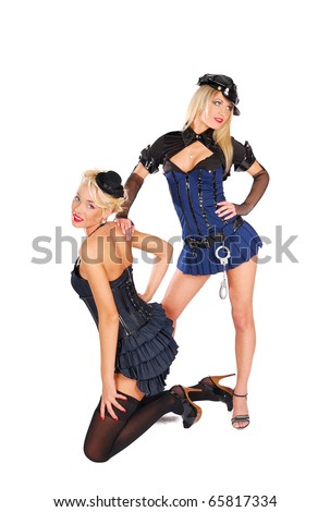 Sexy courtesan arrested by strict police - stock photo