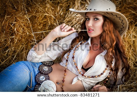 Sexy cowgirl. - stock photo