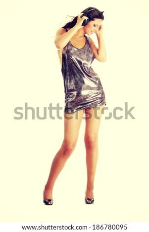Sexy dancer, isolated on white backgrround - stock photo