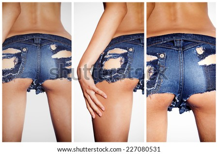 Sexy denim jean shorts with holes in the back ass butt - stock photo