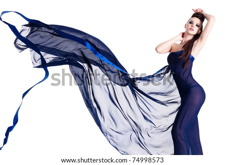 Sexy elegance girl posing  in blue chiffon isolated on white background - stock photo
