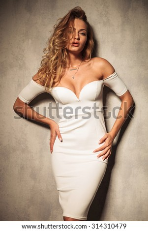 Sexy elegant woman posing on studio background while looking at the camera. - stock photo