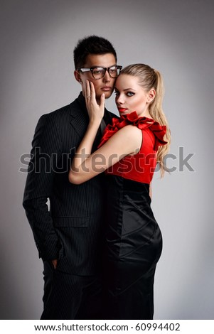 Sexy fashion couple - stock photo