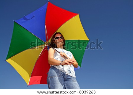 sexy fashion girl with color umbrella