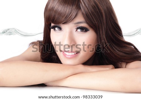 Sexy fashion woman smile face portrait close up with water background isolated on white background, model is a asian beauty - stock photo