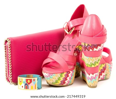 Sexy fashionable shoes and accessories on white background. - stock photo