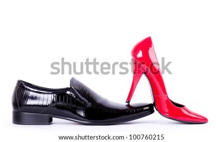 Sexy fashionable shoes on white background. - stock photo