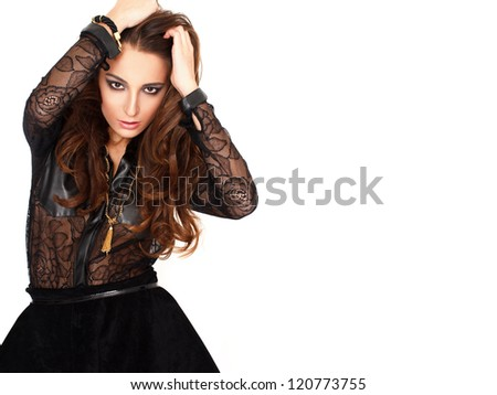 Sexy fashionable woman with empty space - stock photo
