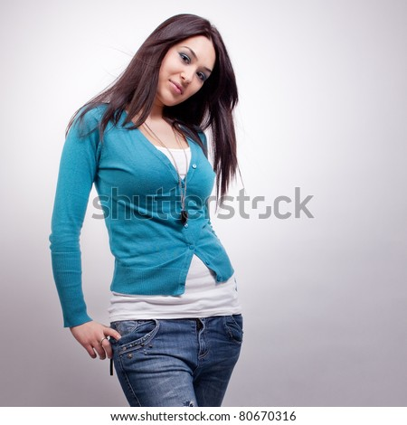 Sexy fashionable young brunette woman
