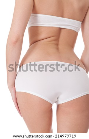 Sexy female buttocks viewed low angle close up in white panties with an enticing curvy figure, torso isolated on white