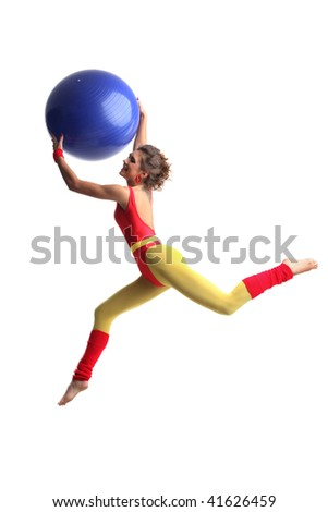 sexy female doing aerobic exercises in sports clothing - stock photo