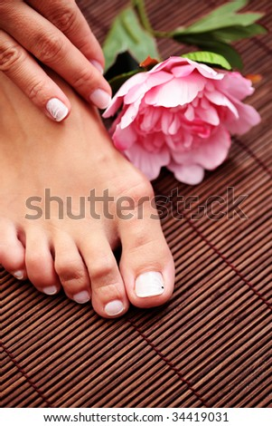 sexy female feet and hands with bowl of flowers - beauty treatment
