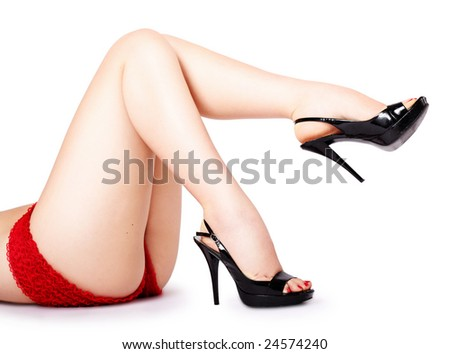 Sexy female legs in a pinup pose - stock photo