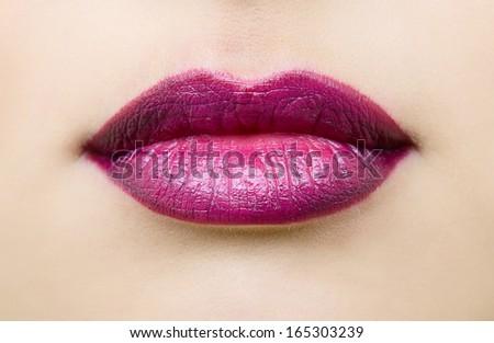 Sexy female lips. Beautiful lips makeup closeup. - stock photo