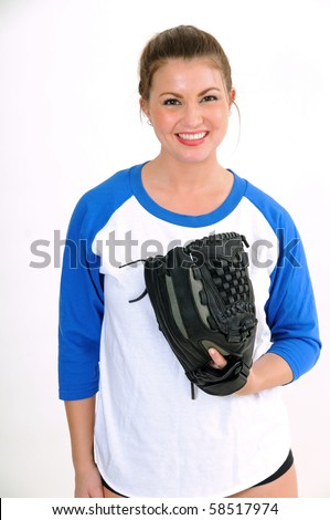 Sexy female softball player in blue and white jersey shirt - stock photo