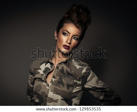 Sexy female soldier - stock photo