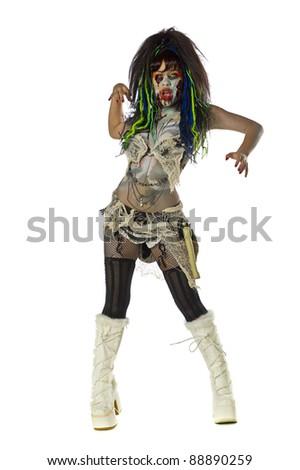 Sexy female zombie Go Go dancer - stock photo