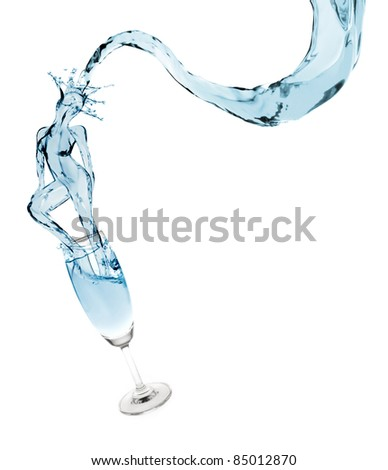 Sexy girl appears from splash of pure water - stock photo