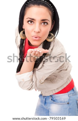 sexy girl blowing kiss on white background,  portrait of cute young female - stock photo