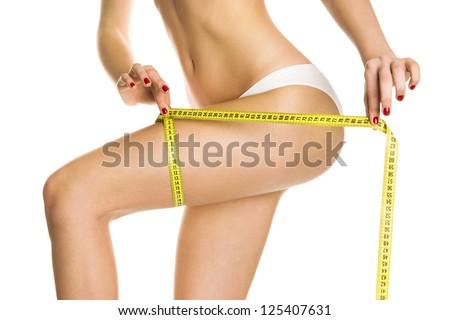 Sexy girl figure measures - stock photo