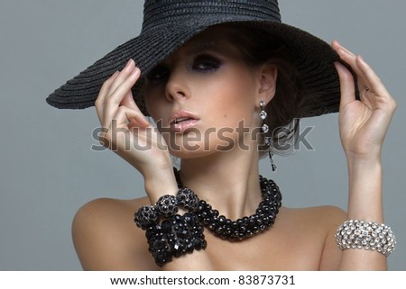 sexy girl in big hat - stock photo