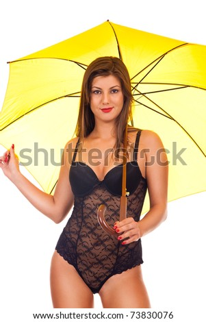 sexy girl in black  lingerie posing with umbrella- isolated on white - stock photo