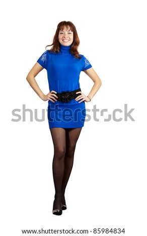 Sexy girl in blue dress. Isolated over white background - stock photo