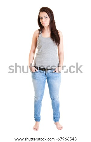 Sexy girl in blue jeans - stock photo