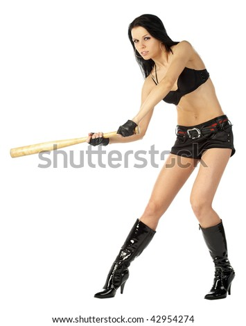 sexy girl in boots, shorts and bra with a baseball bat posing isolated on white background