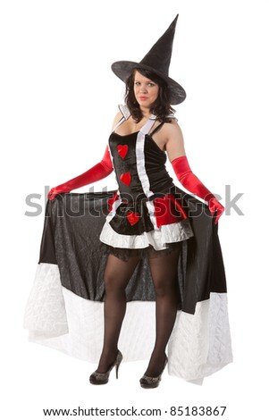sexy girl in Halloween witch - stock photo