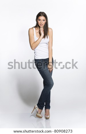 sexy girl in jeans - stock photo