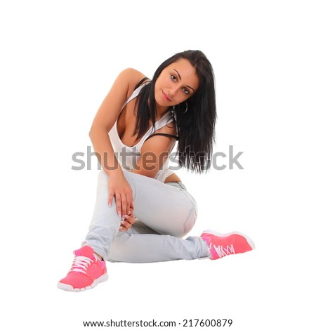 Sexy girl in light blue jeans - stock photo