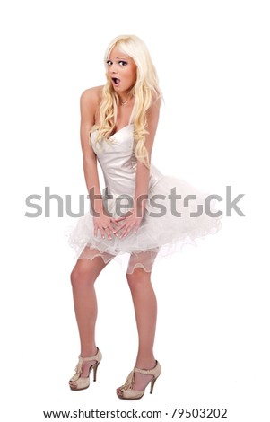 sexy girl in marilyn monroe pose, isolated on white background - stock photo